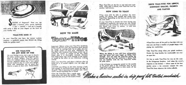 Toas-Tite Original Instruction Booklet (Side 1)