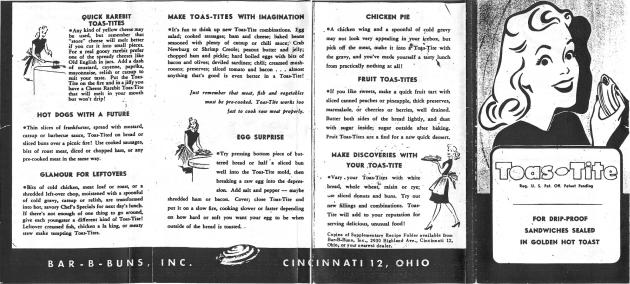 Toas-Tite Original Instruction Booklet (Side 2)